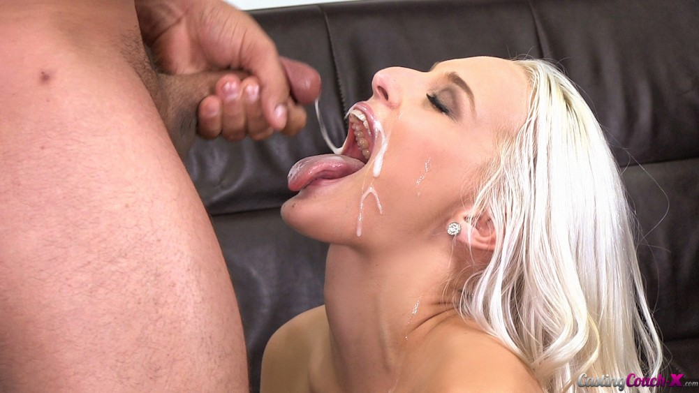 image Blonde trying samples from the dildo salesman