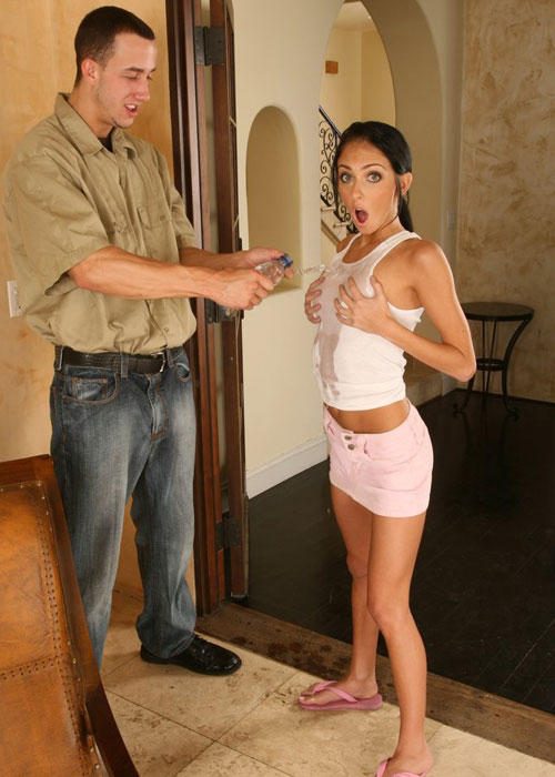 Stephanie Cane accidentally sprayed by the repair man